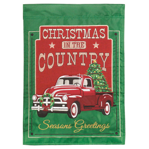 Christmas in the Country Red Truck Holiday Garden Flag