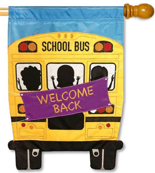 Back To School Yellow Bus Garden Flag