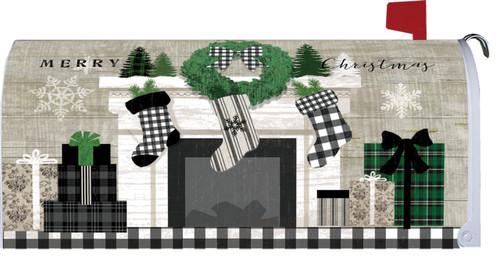 Black & White Plaid Christmas Mantle Mailbox Cover