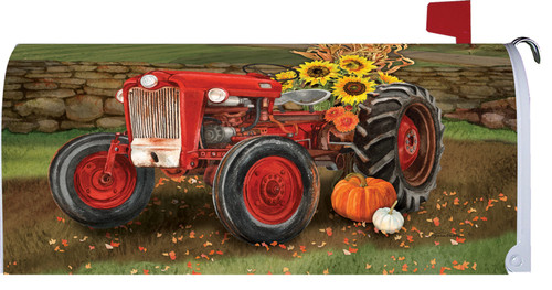 Autumn Sunflowers & Tractor Mailbox Cover