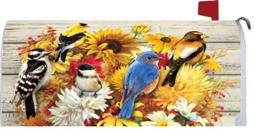 Birds and Fall Bouquets Mailbox Cover