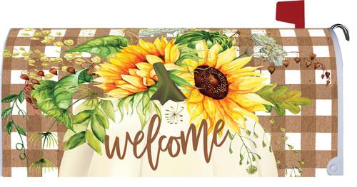 Sunflowers & Plaid Autumn Mailbox Cover