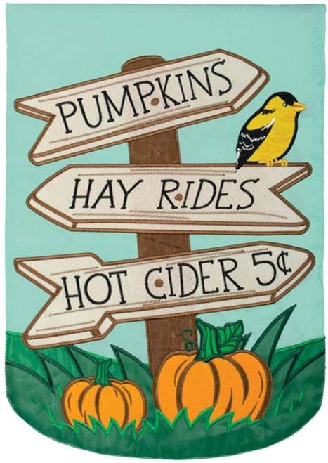 Hayrides & Cider Autumn Garden Flag