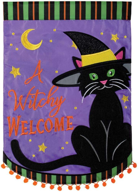 A Witchy Welcome Halloween Garden Flag