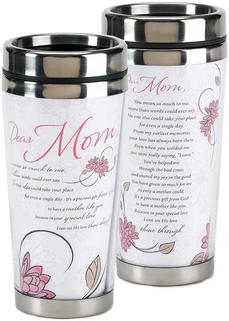 Dear Mom Mother's White & Pink Travel Tumbler