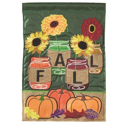 Fall Mason Jars Burlap Garden Flag