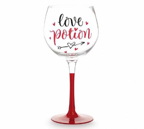 Love Potion Valentine Stemmed Wine Glass
