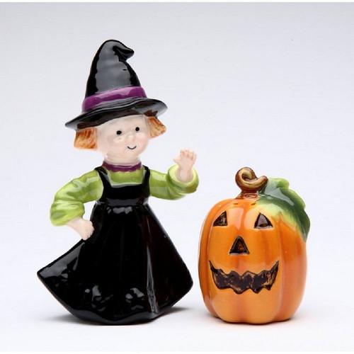 Witch & Pumpkin Halloween Salt and Pepper Set