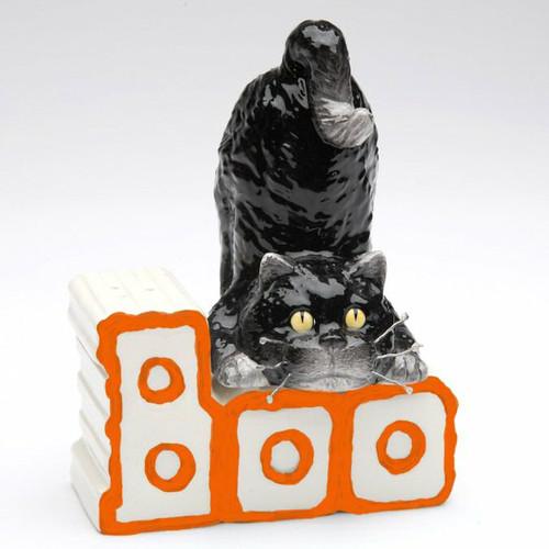 Halloween Black Cat & Boo Sign Salt & Pepper Set