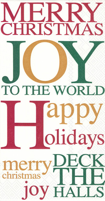 joy to the world, happy holidays guest towel, christmas joy, holiday joy