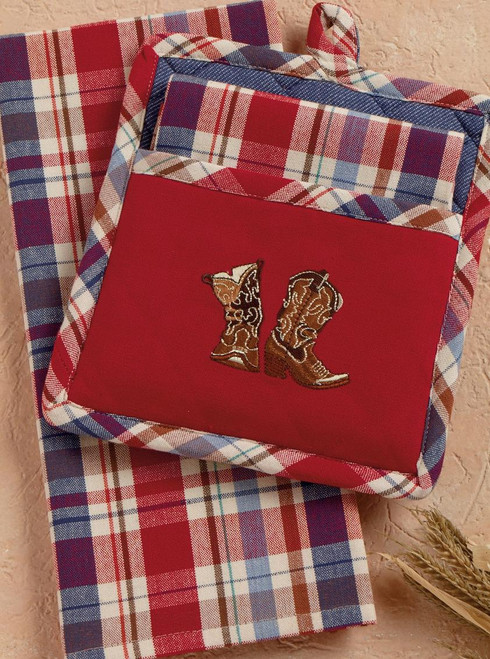 Cowboy Boots Plaid Potholder Set