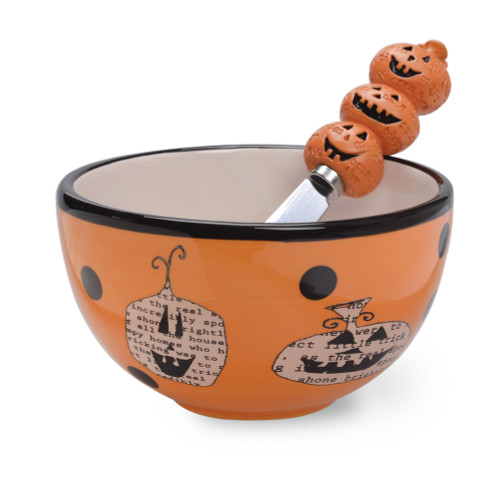 Pumpkin Toss Halloween Dip Bowl & Spreader