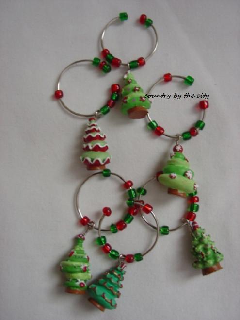 Candy Christmas Tree Holiday Wine Marker Set
