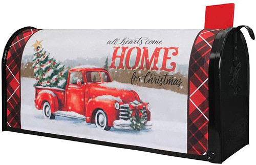 Red Truck All Hearts Come Home for Christmas Mailbox Cover