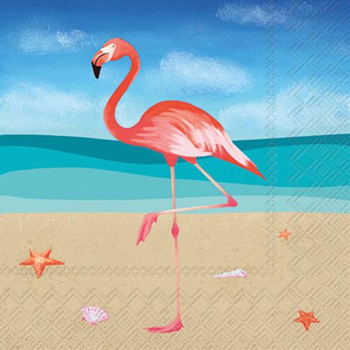 Pink Flamingo Tropical Cocktail Napkin