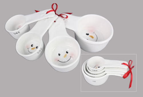 Holiday Snowman Ceramic Measuring Cup Set