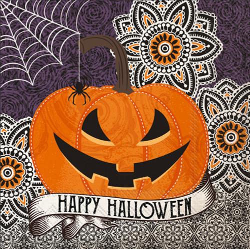 Happy Halloween Jack-o-Lantern Pumpkin Cocktail Napkin