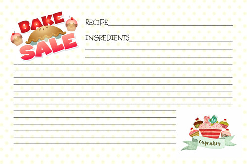 Bake Sale recipe card is lined on both sides and enough room for the entire recipe.