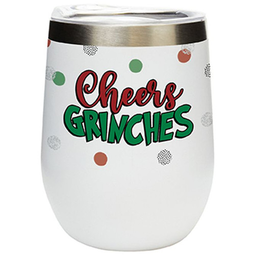 Cheers Grinches 12 Ounce Stemless Wine Tumbler