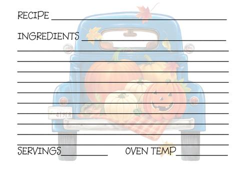 Pumpkin Blue Recipe Card