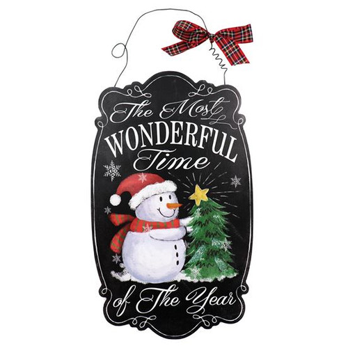 Snowman Most Wonderful Time of the Year Wooden Sign