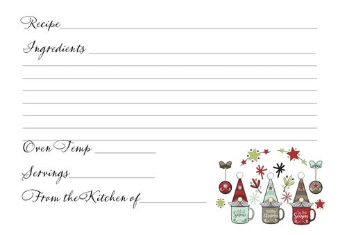 Gnome Holiday Recipe Card