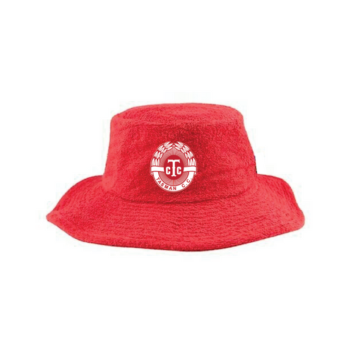 Tasman CC Terry Towelling Bucket Hat - RED Playing