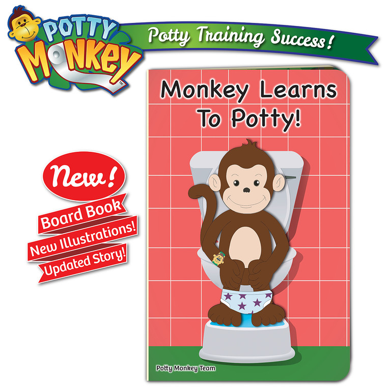 Monkey Learns To Potty board book, 2019 edition with updated story and illustrations!
