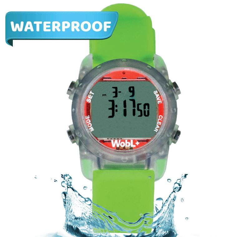 WobL+  Watch, green, waterproof.