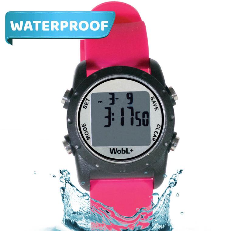 WobL+  Watch, pink, waterproof.