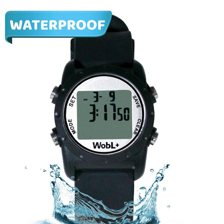 WobL+  Watch, black, waterproof.
