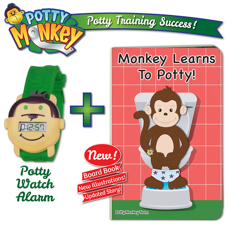 Potty Monkey potty training reminder watch sold together with Monkey Learns To Potty board book, 2019 edition.