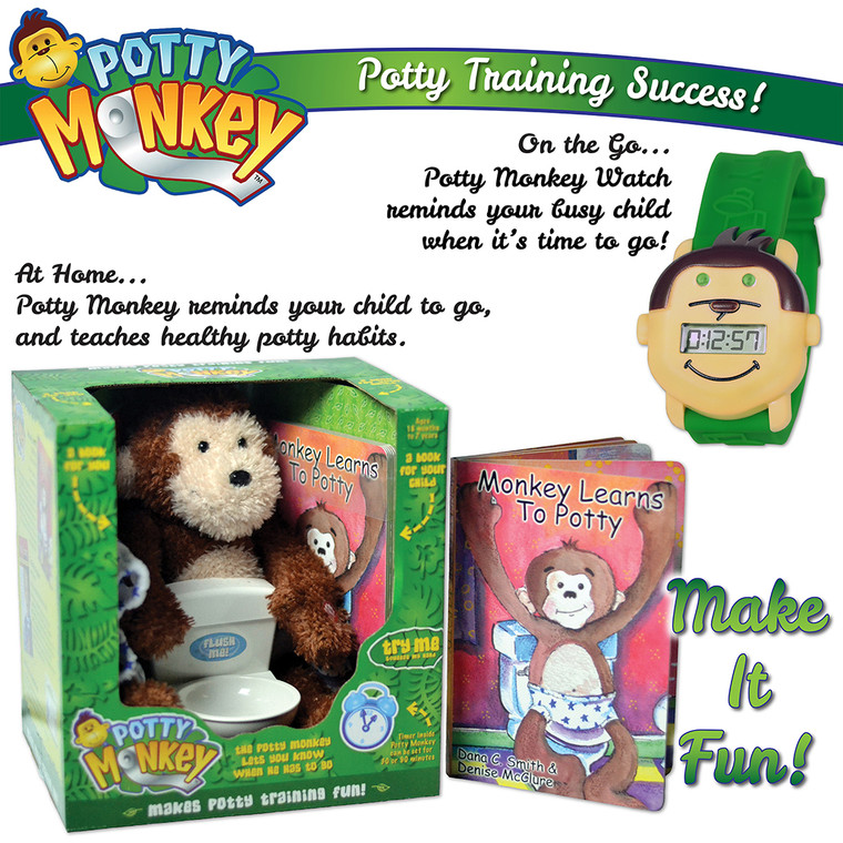 Potty Training: Potty Monkey doll system and Potty Monkey reminder watch, includes book Monkey Learns To Potty and other accessories.