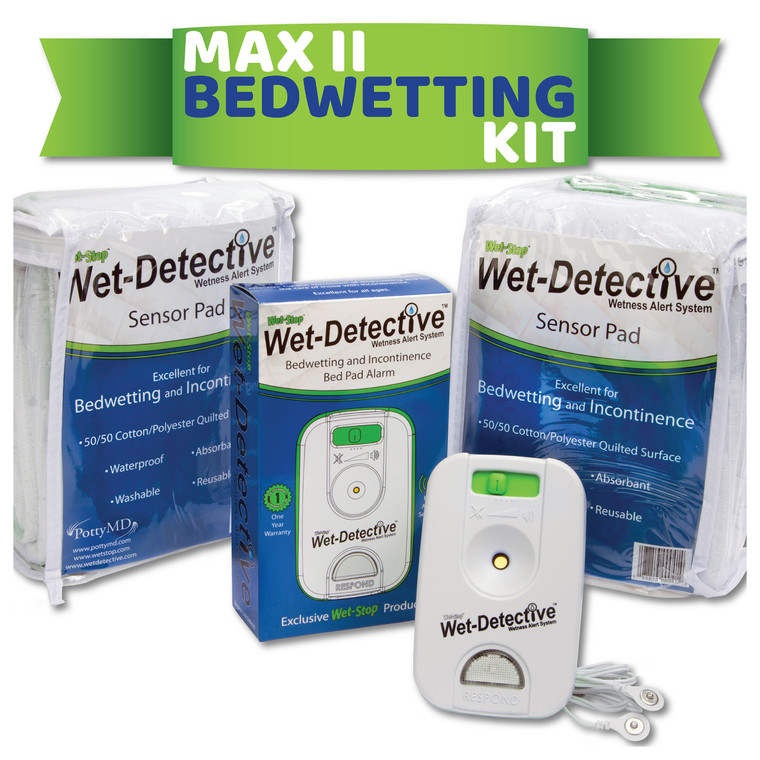 The Wet-Detective Max II Bedwetting Kit includes one bedwetting alarm, sensor cord, and two sensor pads.
