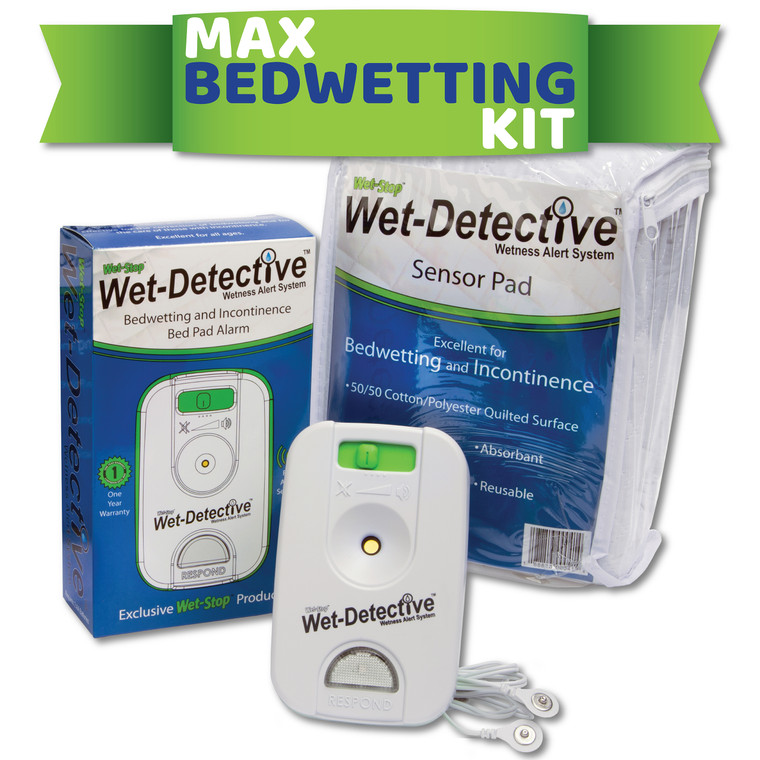 Wet-Detective Max Bedwetting Kit includes one alarm unit with sensor cord and one sensor pad.