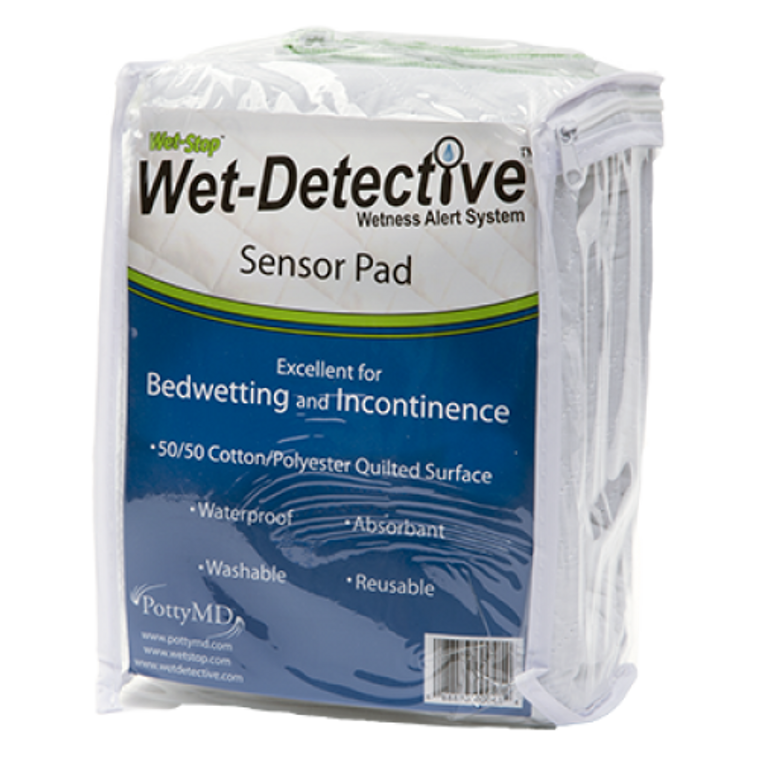 Wet-Detective sensor pad for bedwetting or incontinence.