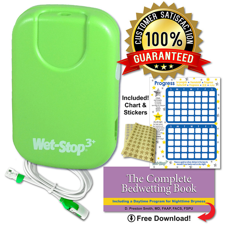 Wet-Stop 3+ kit includes bedwetting alarm unit, sensor cord, progress chart and star stickers, and a free book download for parents. Guaranteed satisfaction.