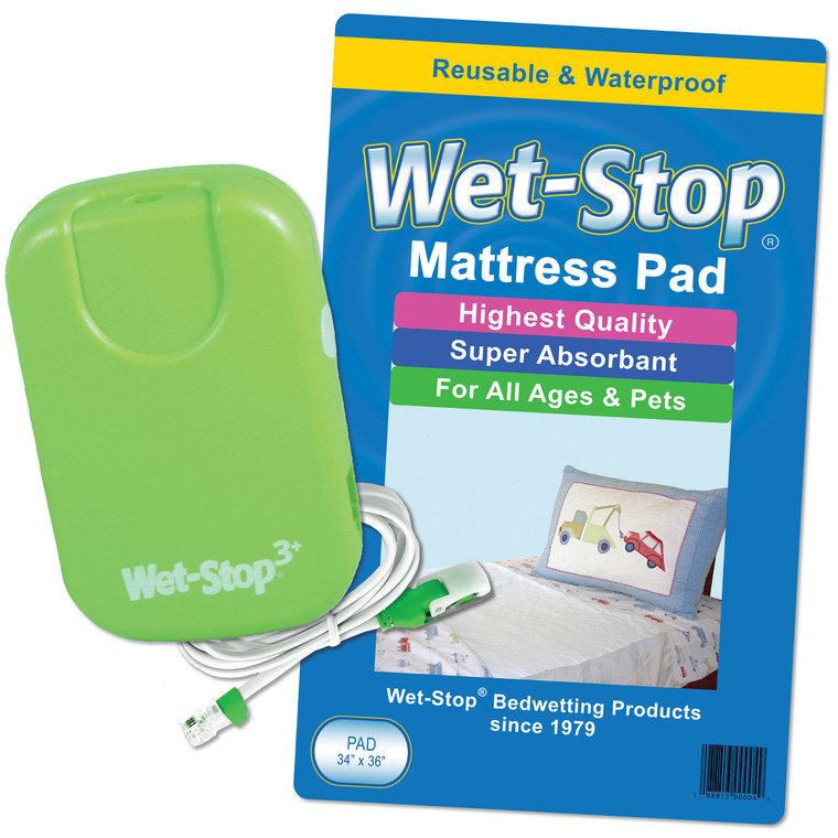 """The Wet-Stop """"Let's Get Started"""" bedwetting kit includes a Wet-Stop 3+ bedwetting alarm plus a Wet-Stop waterproof, washable bed pad."""