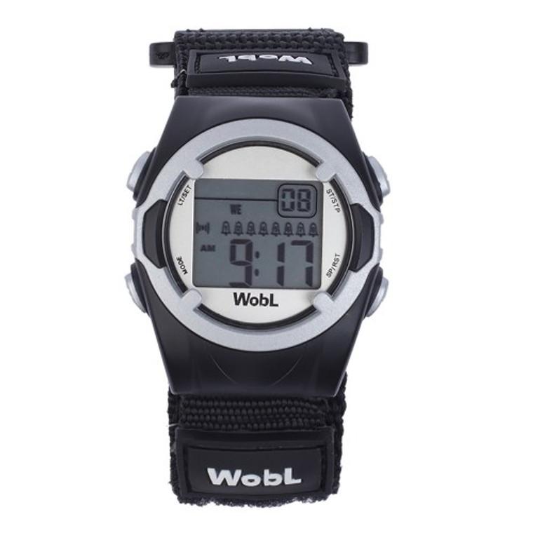 WobL vibrating reminder watch; black model.