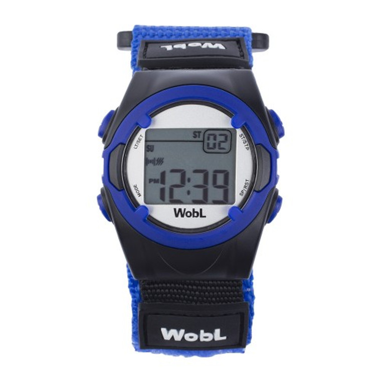 WobL vibrating reminder watch, blue model.