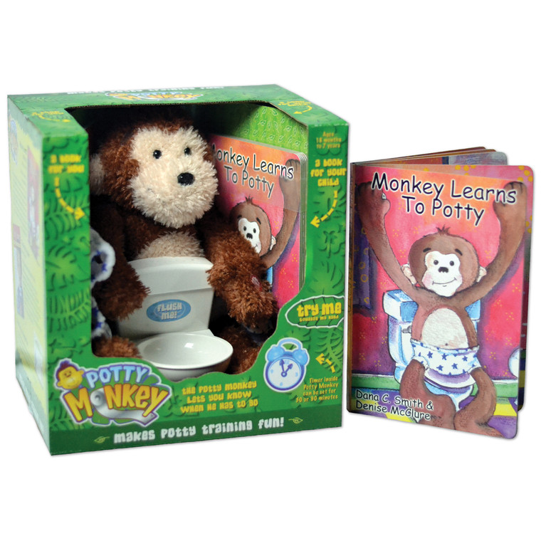 """Potty Monkey & """"Monkey Learns to Potty"""" board book. """"Talking and singing Potty Monkey makes training fun for children!"""""""
