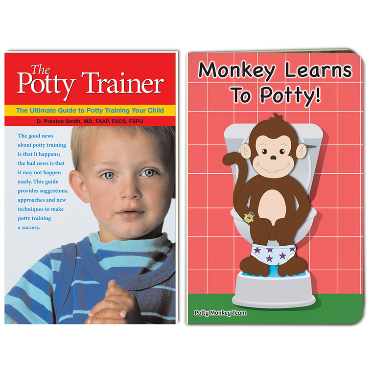 The Potty Trainer and Monkey Learns To Potty book set; 2019 edition of children's board book with updated story and new illustrations!