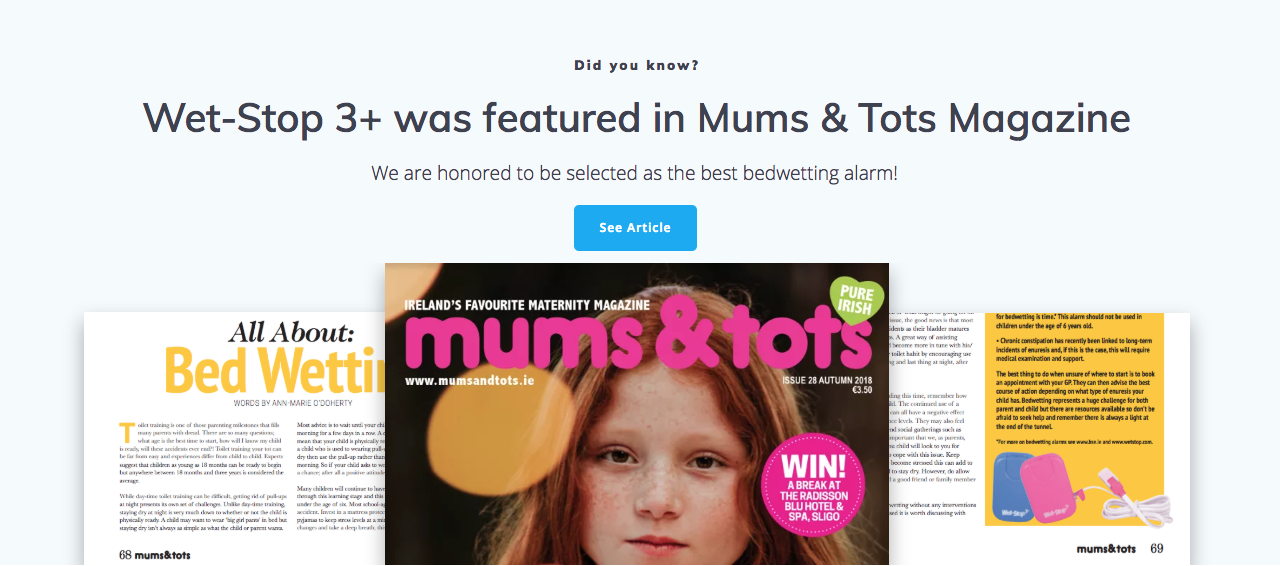 British magazine Mums & Tots selected Wet-Stop 3+ best bedwetting alarm.