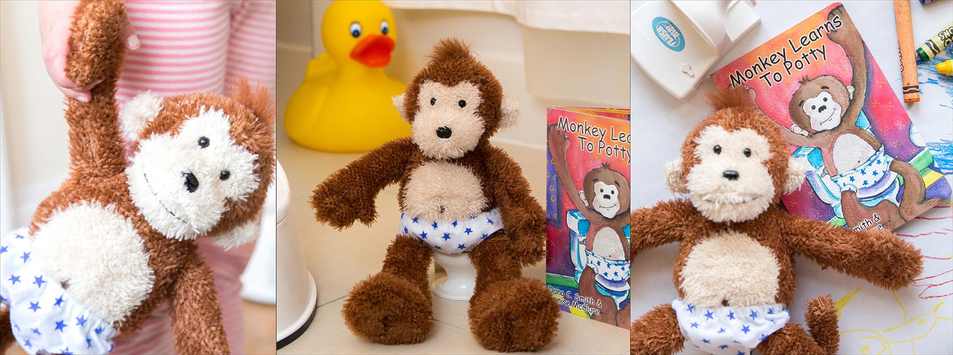 Potty Monkey potty training doll, toilet, book