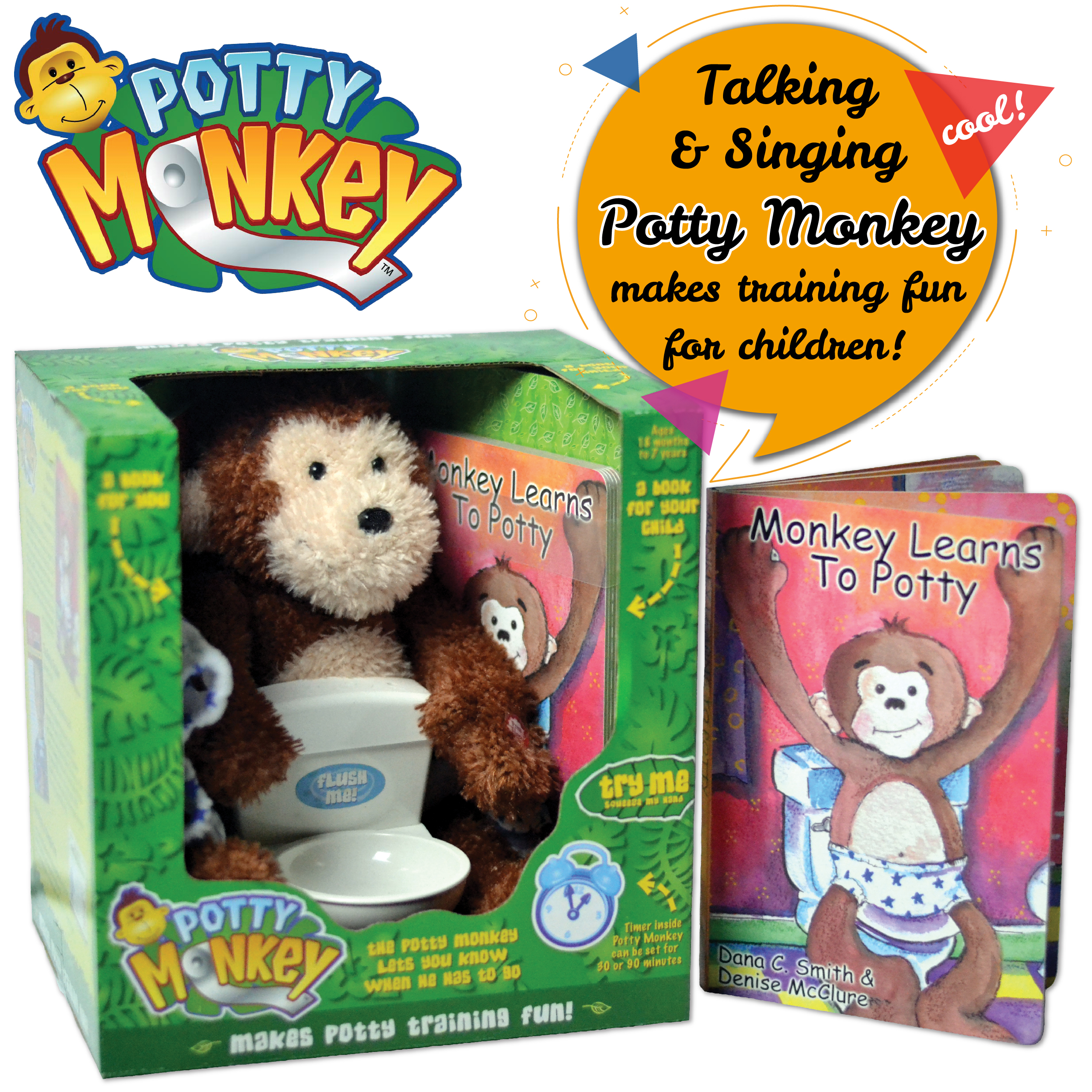 Potty Monkey plush talking, singing monkey with toilet, monkey underwear, and two educational books for successful potty training.