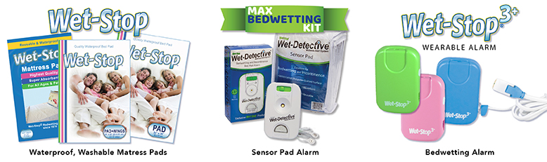Wet-Stop Waterproof pads, Wet-Detective Sensor Pad and alarm, and Wet-Stop 3+ Wearable wetness alarm.