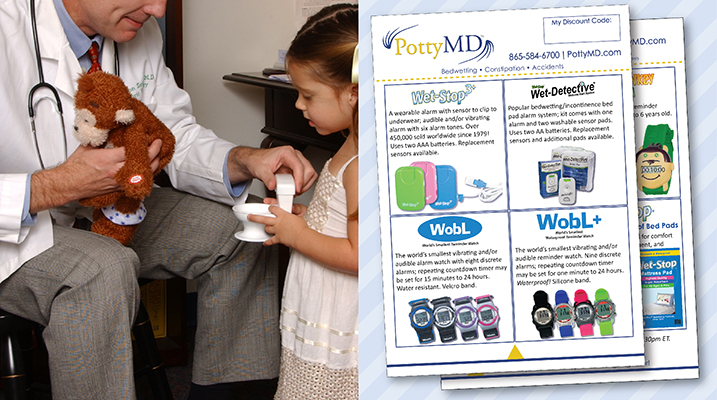 Doctor with Potty Monkey & patient in office; product flyers with discount code box