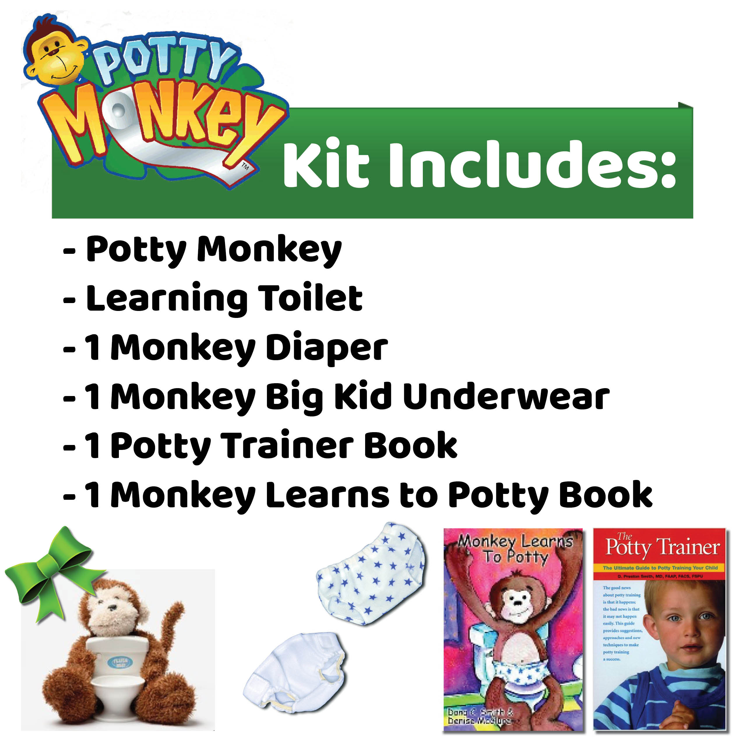 Potty Monkey potty training kit includes Potty Monkey, learning toilet, monkey diaper, monkey underwear, The Potty Trainer book for parents, and Monkey Learns to Potty board book for children.