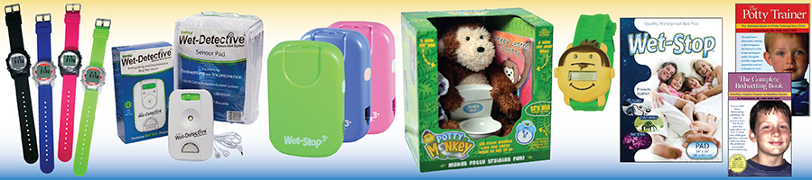 Photo showing WobL watches, Wet-Detective sensor pad wetness alarm system, Wet-Stop 3+ wearable bedwetting alarm, Potty Monkey for potty training, Potty Monkey potty reminder watch, Wet-Stop mattress pad, and The Potty Trainer and The Complete Bedwetting Book.