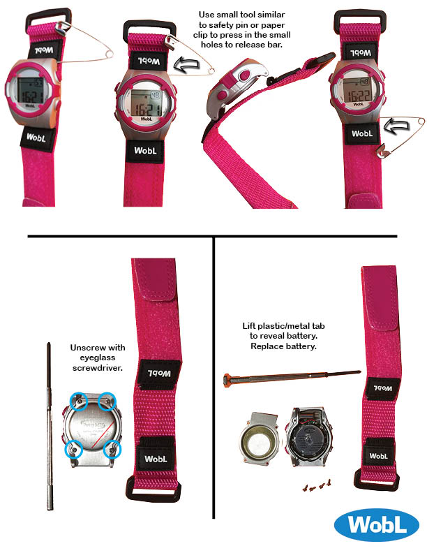 Image shows steps to change WobL watch battery; remove the watch face from the wrist band; remove four screws to release the back panel; remove and replace the battery; reattach the back panel; reattach the watch face to the wrist band.